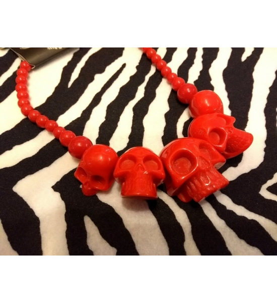 Kreepsville 666 super Red Hot Red colour skull necklace UK P&P Included