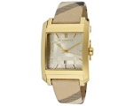Burberry BU1579 Gold Dial Brown Multicolor Plaid..
