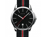 Gucci YA126321 Black Dial Black Red Green Strap ..