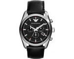 Emporio Armani AR6039 Mens Tazio Black Leather S..