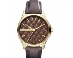 Armani Exchange Brown Quilted Dial Gold-Tone Lad..