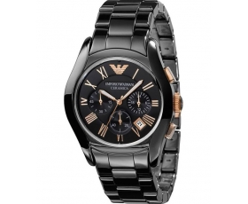 Emporio Armani Black Round Dial ar1410 Ceramic Case Men's Watch