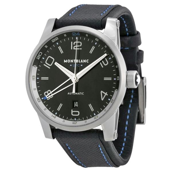 91723eeca Montblanc TimeWalker Voyager UTC Black Dial Black Leather Mens Watch