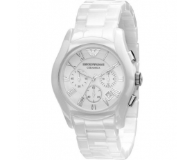Emporio Armani AR1403 Gents White Ceramic Round White Dial Watch