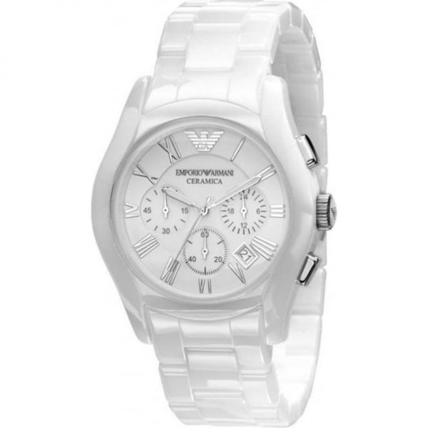 f58d8030 Emporio Armani AR1403 Gents White Ceramic Round White Dial Watch