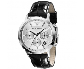Armani ar2432 Mens Classic Chronograph Leather Strap Watch