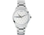 Armani Exchange Silver Quilted Crystal Dial Stee..