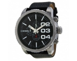 Diesel Chronograph Black Dial Black Leather Mens..