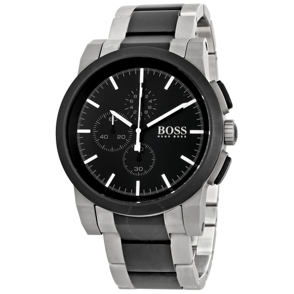 4502a7e0c Hugo Boss 1512958 Grey and Black PVD Gents Bracelet Watch