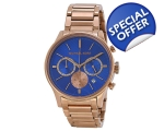 Michael Kors Chronograph Blue Dial Rose Gold-ton..
