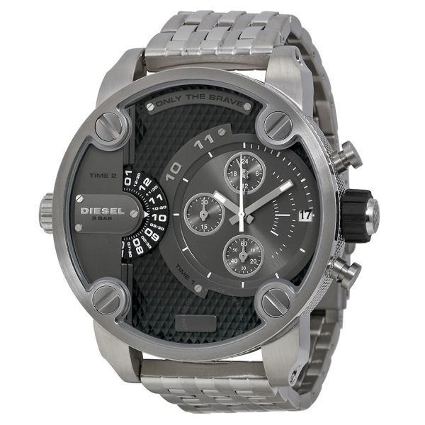 cfc1ad0ff Diesel SBA Dual Time Chronograph Grey Dial Stainless Steel Mens Watch