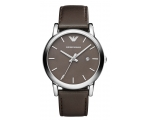 Armani Brown Dial Steel Case Brown Leather Strap..