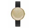 Skagen Ditte Gold Dial Black Leather Ladies Watc..