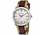 Burberry BU1389 Checked with Red Leather Strap W..