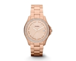 FOSSIL AM4454 Retro Traveler Rose Gold-tone Ladi..