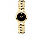 Movado 0606253 Rondiro Mini Gold-Plated Black Di..