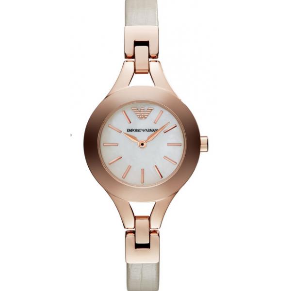 0f0223da Emporio Armani AR7354 Ladies Cream and Brown Chiara Watch