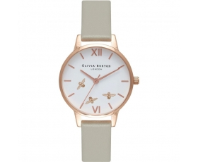 Olivia Burton OB16CH03 Busy Bees Grey Leather Strap Ladies Watch