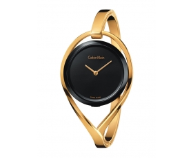 Calvin Klein K6L2M411 Black Dial Gold-Tone Bangle Ladies Watch