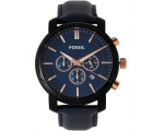 Fossil BQ2007 Chronograph Blue Dial Navy Leather..