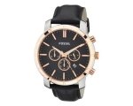 Fossil BQ1281 Chronograph Black Dial Black Leath..