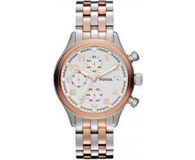 Fossil JR1433 Two-Tone Stainless-Steel White Dial Ladies Watch