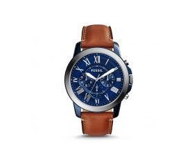 Fossil FS5151 Grant Blue Dial Brown Leather Men's Chronograph Watch