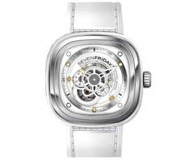 Sevenfriday p1-02 Bright Stainless Steel White Leather Men's Watch