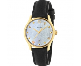 Gucci YA126589 G-Timeless Black Leather White Dial Ladies Watch