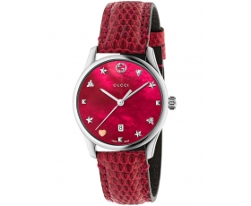 Gucci YA126584 G-Timeless Red Mother of Pearl Dial Ladies Watch