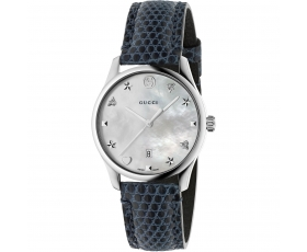 Gucci YA126588 G-Timeless White Dial Blue Leather Strap Ladies Watch