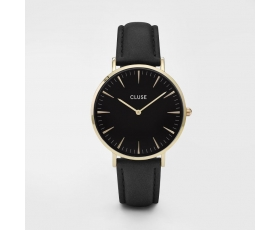 Cluse CL18401 La Boheme Black Dial Black Leather Strap Ladies Watch