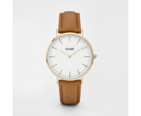 Cluse CL18409 La Boheme White Dial Brown Leather Strap Ladies Watch