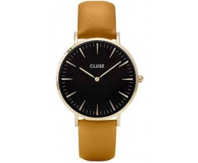 Cluse CL18420 La Boheme Black Dial Mustard Leather Strap Ladies Watch