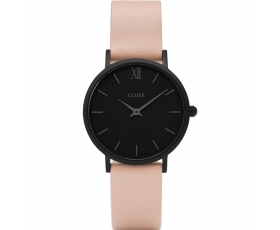 Cluse CL30027 Minuit Black Dial Pink Leather Strap Women's Watch