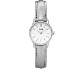 Cluse CL50021 La Vedette Silver Metallic Leather Strap Ladies Watch