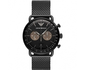 Emporio Armani AR11142 Black Stainless Steel Mesh Bracelet Men's Watch