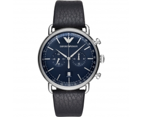 Emporio Armani AR11105 Blue Dial Black Leather Strap Men's Watch
