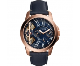 Fossil ME1162 Grant Blue Leather Rose Gold Tone Men's Wrist Watch