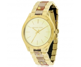 Michael Kors MK4300 Runway Gold Dial Zebra Acetate Ladies Watch