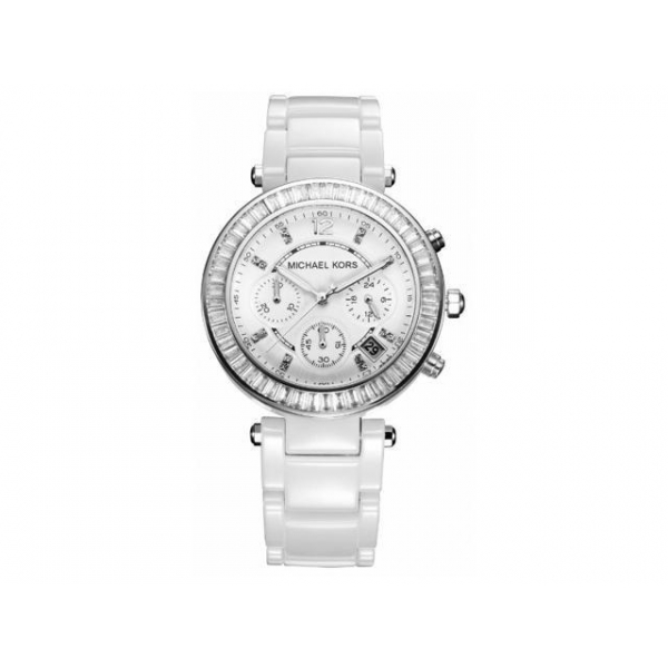 98d8fa8db Michael Kors MK5848 Parker White Glitz Ceramic Ladies Watch