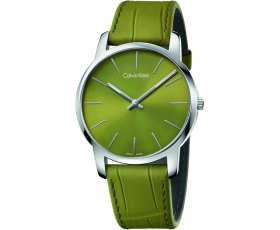 Calvin Klein K2G211WL City Swiss Made Green Dial Men's Leather Watch