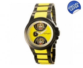 Ed Hardy EDSP-BTG Mens Speeder Yellow Two Tone Bracelet Watch