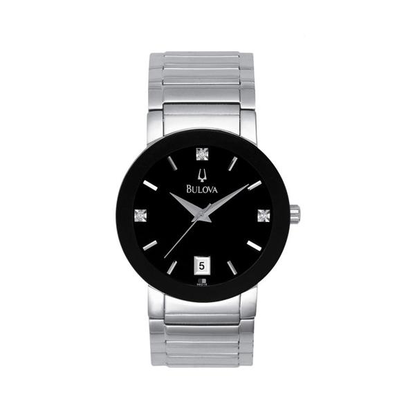 Dial Steel 96d18 Stainless 3 Diamond Bulova Watch Men's eWHI2EDY9