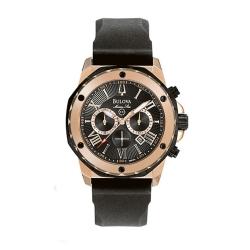 68cd34abd Bulova 98B104 Men's Marine Star Chronograph Black Strap Watch