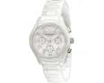 Emporio Armani AR1404 Ladies White Ceramic Round..