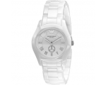 Emporio Armani AR1405 Ladies White Ceramic Round..