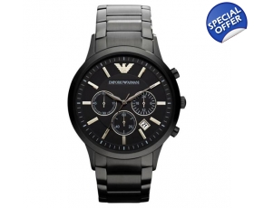 Emporio Armani AR2453 - Mens Black IP Bracelet Chrono Watch