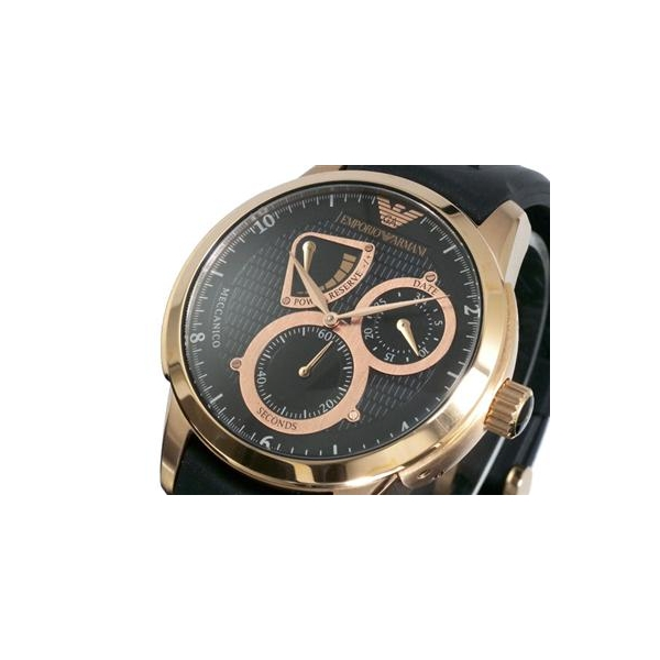 aa5648a90351 New Armani Mens Emporio Rose Gold Ar4619 Black Watch wOPiulZTkX