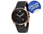 Armani AR5905 - Mens Chronograph Rose Gold Black..